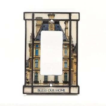House Blessing Light Switch Cover:  a rocker switch plate featuring a glorious vintage architectural drawing