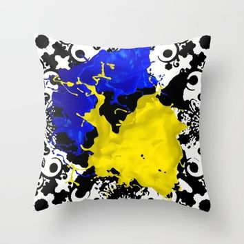 black white blue yellow Throw Pillow by violajohnsonriley