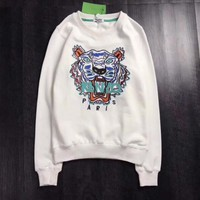 KENZO Tiger Embroidery Round Neck Top Sweater Pullover