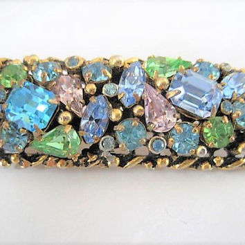 Barclay Pastel Brooch, Blue Amethyst Rhinestone, Easter Colors, Rectangle Shaped, Vintage Signed Pin