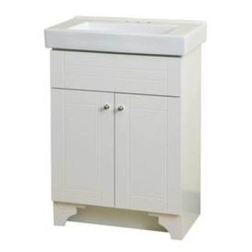 Shop Style Selections White Integral Single Sink Bathroom Vanity with Vitreous China Top (Common: 24-in x 14-in; Actual: 24.18-in x 14.18-in) at Lowe's