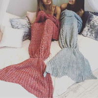 Best Friends Gorgeous Red and Grayish Blue Extra Large Fine Knit Mermaid Tail Blanket
