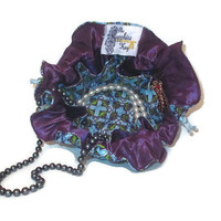 Drawstring Travel Jewelry Pouch / Satchel - Purple Blue and Green Cross Pattern with Purple Satin