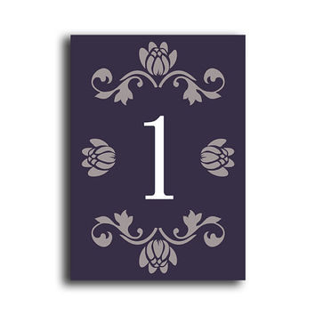 Printable Table Numbers DIY Instant Download Elegant Table Numbers Purple Eggplant Wedding Table Numbers Printable Table Cards (Set 1-20)