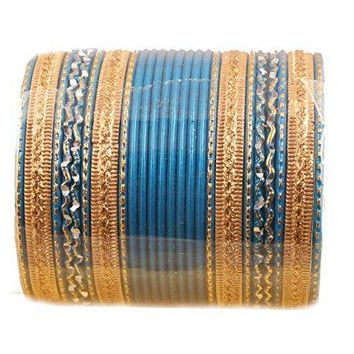 Touchstone NEW Colorful 2 Dozen Bangle Collection Indian Bollywood Alloy Metal Textured Designer Jewelry Special Extra Large Size Bangle Bracelets Set Of 24 In Antique Gold Tone For Women