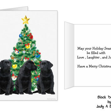 Black Lab Christmas Card - Labrador Holiday Card - Dog Christmas Card 2 - Christmas In July - Black Lab Holiday card - Black Dog Christmas
