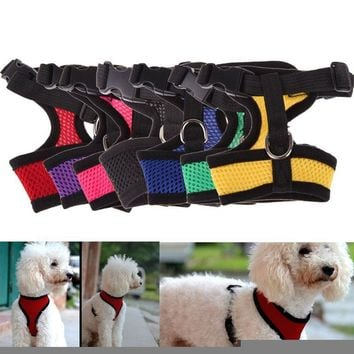 1PC adjustable dog harness cats pet soft nylon breathable harness puppy dogs vest collars teddy yorkie chest strap leash