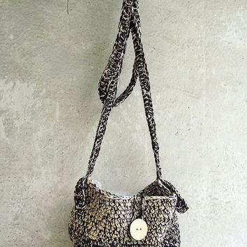 Boho Chic Organic Cotton Ombre Crochet Crossbody Hobo Bag - Summer Trend - Hippy - Rustic - Tribal - Grunge - Eco Friendly - Gift for Her