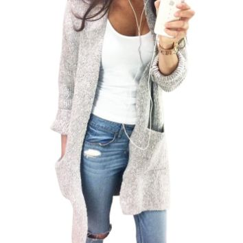 Long Loose Gray Cardigan