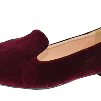 Chase & Chloe Women's Faux Velvet Smoking Slipper Loafer Flats Burgundy 6 B(M) US '