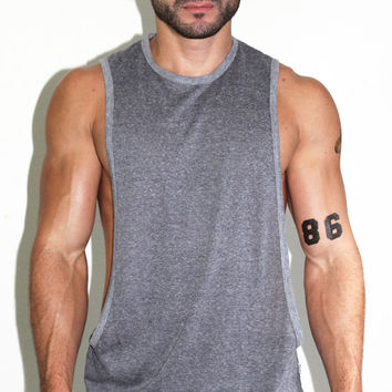 Core Low Armhole Tank-Charcoal