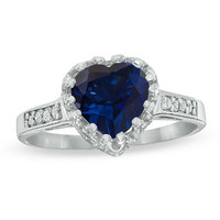 8.0mm Heart-Shaped Lab-Created Blue Sapphire and White Topaz Crown Ring in Sterling Silver - View All Rings - Zales