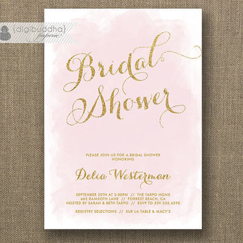 Blush Pink & Gold Glitter Bridal Shower Invitation Modern Watercolor Shabby Chic Wedding Hens Party Lingerie DIY Printable or Printed- Delia
