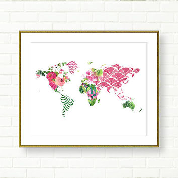 Floral World Map Print, Travel Nursery, Tropical, Vanity Art, Office Wall Decor,Green Pink, Modern Art, Map Poster, Glam, Fuchsia,
