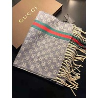 "Hot Sale ""GUCCI"" Fashionable Women Men Tassel Stripe Comfortable Cashmere Cape Scarf Scarves Shawl Accessories"