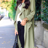 Green Lapel Long Sleeve Trench Coat - Choies.com