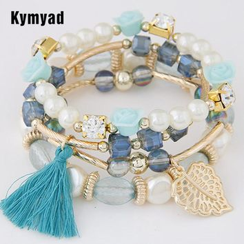 Kymyad Fashion Design Girl Jewelry Handmade Bracelets Sets For Women Glass Beads Charm Gold Color Bracelet Vintage Jewlery