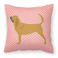 Bloodhound Checkerboard Pink Fabric Decorative Pillow BB3584PW1818
