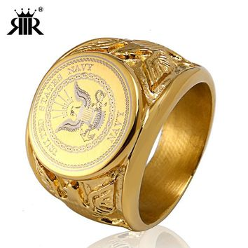 RIR Gold USA Military Ring United States MARINE CORPS US ARMY Men Rings In Stainless Steel
