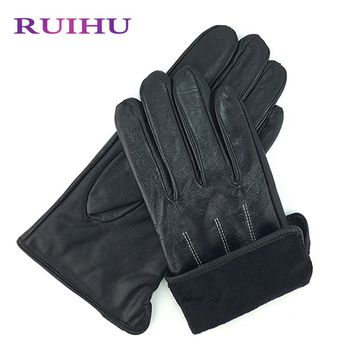 RUIHU Cashmere Lining Texting Driving Winter Warm Nappa Leather Gloves Leather Glove Sheepskin Leather Fur Gloves size8/8.5