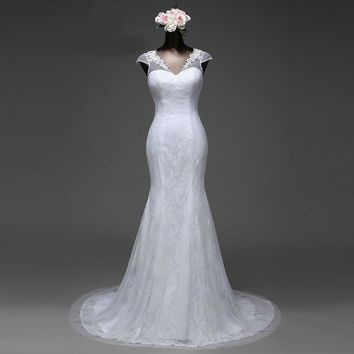 lace flowers short sleeves mermaid wedding dress satin  ball gown robe