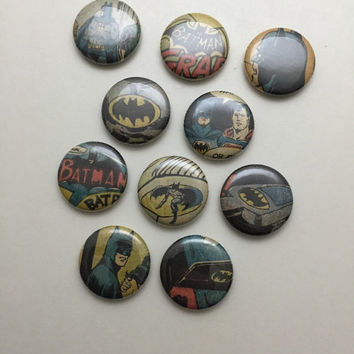 Batman Magnets - 10 pcs - 1 Inch Batman Magnets - Batman Comic - Batman Series - Magnets - Ready to Ship