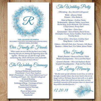 "Printable Program Template Instant Download Winter Wedding Program ""Winter Wreath"" Blue Silver Pinecone Ceremony Program DIY Wedding Program"