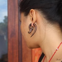 "Tribal Fake Gauge Wood Earring, ""Canggah"" Sono Fake Taper Earrings, Bali Earring, Tribal Handmade Faux Gauge Wooden Earring"