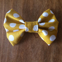 Mustard Yellow Polka Dot Hair Bow