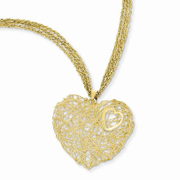 14K Yellow Gold Adjustable Triple Strand Heart Ne Necklace