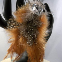 Foxy FEATHER Cocktail RING High Fashion Hand Giant Rhinestone