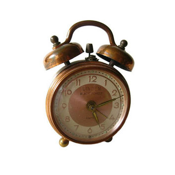 Linden Black Forest Brass Alarm Clock In Working Condition - West German Clock - Vintage Desk Clock - Wind Up Alarm Clock - Desk Decor