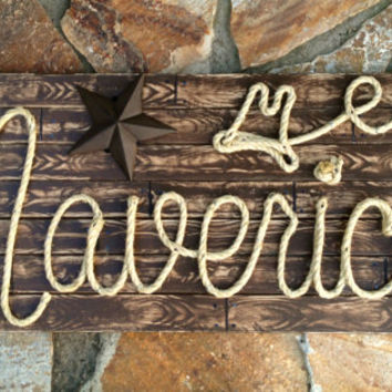 "MAVERICK: 42"" Rope Name Sign Western Country Cowboy- Brown Distressed Wood Grain- (004)"