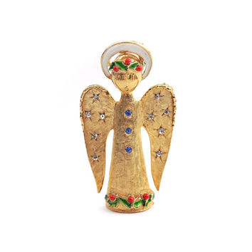 Signed ART Angel Christmas Brooch