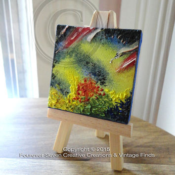 Abstract Painting Mini Oil Painting Mini Painting Original Oil Painting Original Art Modern Art Small Oil Painting Miniature Celestial Flash