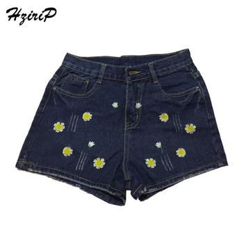 HziriP Fashion Sunflower Embroidery Shorts Women 2018 New Daisy Patternc High Waist Denim Shorts Spring Summer Jeans Short Femme