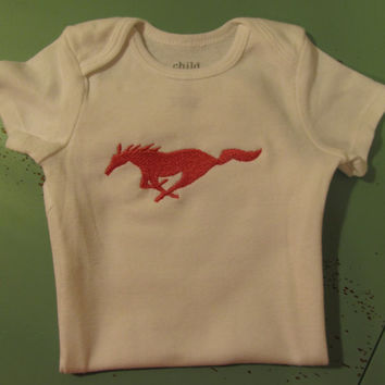 FREE SHIPPING Custom Handmade mustang hot pink snap-tee, snapsuit, body suit, or one-piece choice of name