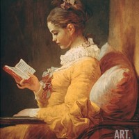 Young Girl Reading, about 1776 Stretched Canvas Print by Jean-Honoré Fragonard at Art.com