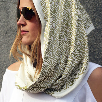 DESERT SKIES Infinity Scarf - Burning Man Pattern - Screen Print Clothing - Sacred Geometry
