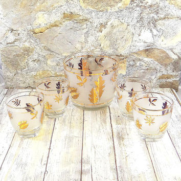 Mid Century Modern Libbey Golden Foliage Ice Bucket and Rocks Cocktail Set