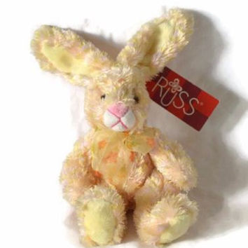 "Easter Bunny Plush Russ Berrie 10"" Light Pink Peach Bow Rabbit Stuffed Animal Newoborn Toy Nursery Decor Baby Shower Gift"