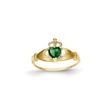 14k Yellow Gold Green Synthetic CZ Polished Claddagh Ring