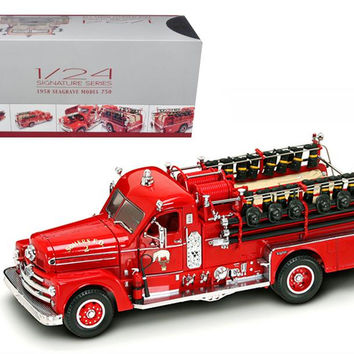 1958 Seagrave 750 Fire Engine Truck Red with Accessories 1-24 Diecast Model by Road Signature