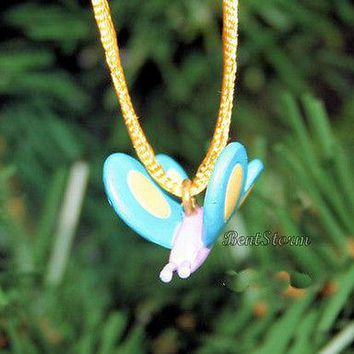 """Licensed cool NEW CUTE PINK BODY BLUE WINGS Butterfly MINI Christmas Ornament PVC 3/4""""x3/4"""""""