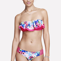 RUFFLE FRONT BANDEAU BIKINI SWIM TOP - FLORAL from EXPRESS