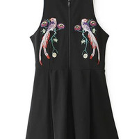 Black Zip Up Sleeveless Pleated Dress with Embroidery Details