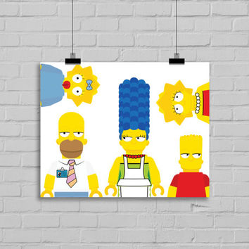 The Simpsons Lego Art Print   Wall Art   Home Decor   Office Dec