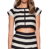 Alice + Olivia Amy Dual Front Boxy Top in Black