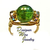 DWJ0411 Lovely Oceanic Czech Art Glass Gold Wire Wrap Ring All Sizes
