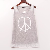 2016 New Geometric Tank Top Women Peace Symbol Printed Printed Tops Women Sexy Sleeveless Summer Vest Tank Top Woman